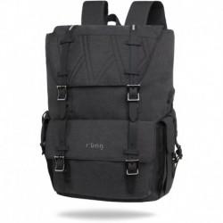 "Plecak męski kostka na laptop 15,6"" r-bag Packer Black czarny z USB"
