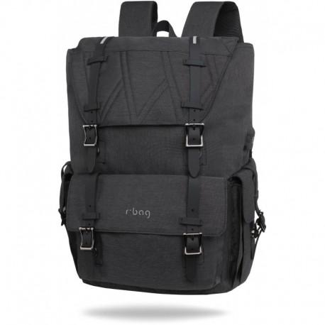 "Plecak męski kostka na laptop 15,6"" r-bag Packer Black czarny z USB - Cool-pack.pl"