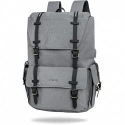 "Plecak męski kostka na laptop 15,6"" r-bag Packer Gray szary melanż z USB"