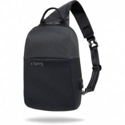 Plecak na jedno ramię r-bag na tablet Magnet czarny męski z USB