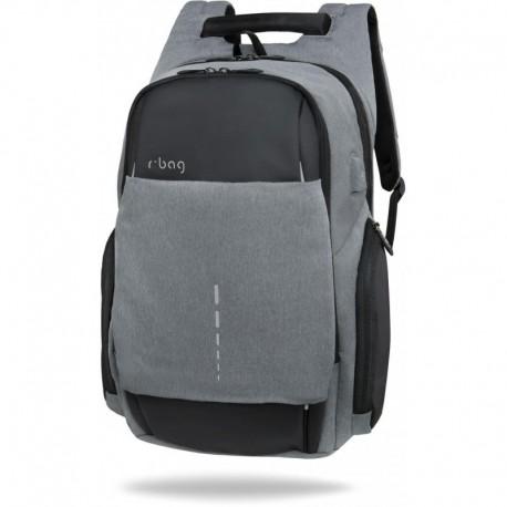 """Plecak męski na laptopa 15,6"""" r-bag Drum Gray szary z USB bagaż podręczny - Cool-pack.pl"""