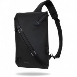Plecak na jedno ramię A4 męski r-bag Depo Black czarny z USB wodoodporny zamek