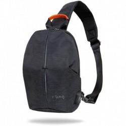 Plecak mały męski na jedno ramię r-bag Photon Black czarny z USB