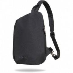 Mały plecak na jedno ramię r-bag trójkątny Switch czarny z USB
