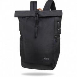 """Plecak kurierski zwijany na laptopa 15,6"""" męski r-bag Roll Black czarny z USB"""