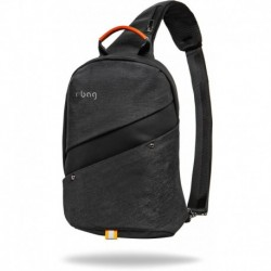 Plecak na jedno ramię męski mały r-bag Slim Black czarny z USB