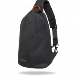 Plecak z USB na jedno ramię A4 męski r-bag Pump Black czarny trójkatny