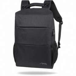 "Plecak męski do pracy na laptopa 15,6"" r-bag Range Black czarny z USB"
