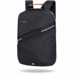 """Czarny plecak męski na laptopa 15,6"""" antykradzieżowy z USB r-bag Bunker Black na walizkę"""