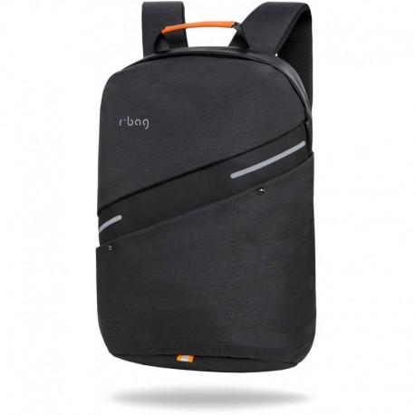 """Czarny plecak męski na laptopa 15,6"""" antykradzieżowy z USB r-bag Bunker Black na walizkę - Cool-pack.pl"""