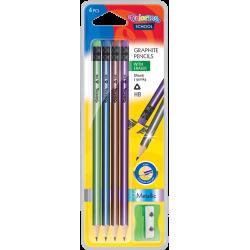 Ołówki trójkątne HB plus z gumką + temperówka metaliczne kolory 4szt