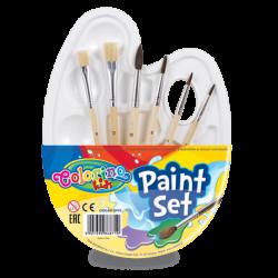 """Zestaw do malowania """"paletka"""" + pędzelki 6szt Colorino kids"""