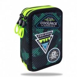 Piórnik trzykomorowy Z WYPOSAŻENIEM CoolPack CP JUMPER III 3 GREEN BADGES Zielone MORO z naszywkami