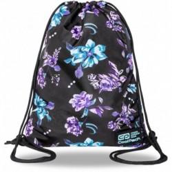 Plecak worek sportowy CoolPack dziewczęcy VIOLET DREAM czarny z kwiatami SOLO L