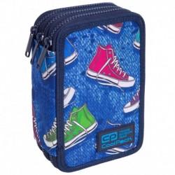 Piórnik dla dziecka jeansowy COOLPACK CP JUMPER 3 TWIST trampki 3 komorowy z wyposażeniem