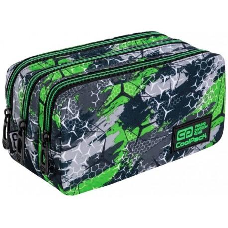 Piórnik saszetka trzykomorowa CoolPack CP PRIMUS TRIOGREEN zielony dla chłopaka - Cool-pack.pl