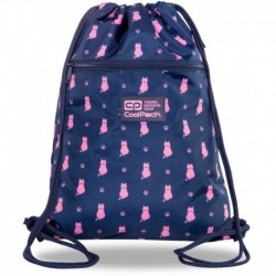 Granatowy worek na buty w różowe koty CoolPack CP VERT NAVY KITTY