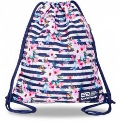 Plecak worek młodzieżowy CoolPack w paski PINK MARINE z kwiatami granatowy SOLO L