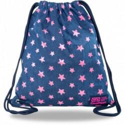 Plecak worek młodzieżowy jeansowy CoolPack PINK STARS z różowymi gwiazdkami SOLO L