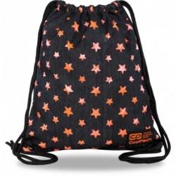 Plecak worek na sznurkach CoolPack STARS czarny jeans i gwiazdki SOLO L