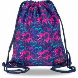 Plecak worek CoolPack dla dziewczyn DRAWING HEARTS granatowy w serca SOLO L