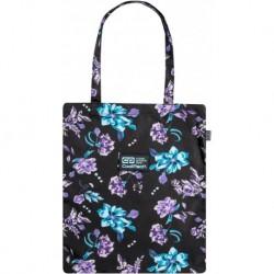 Czarna szoperka w niebiesko fioletowe kwiaty CoolPack SHOPPER BAG VIOLET DREAM CP