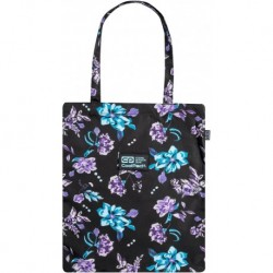 Torba damska czarna w kwiaty CoolPack SHOPPER BAG VIOLET DREAM CP