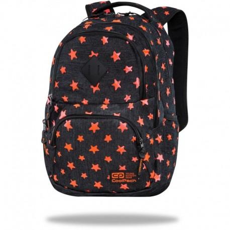 "Plecak czarny jeans CoolPack DENIM ORANGE STARS w gwiazdki DART CP 17"" - Cool-pack.pl"