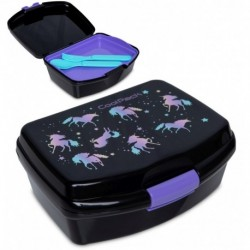 Lunchbox dla dziecka CoolPack DARK UNICORN jednorożce + tacka sztućce RUMI