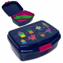 Granatowy lunchbox w kaktusy CoolPack CACTUS sztućce RUMI